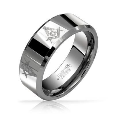 Free Mason Tungsten Ring with Beveled Edge (Non Fa...