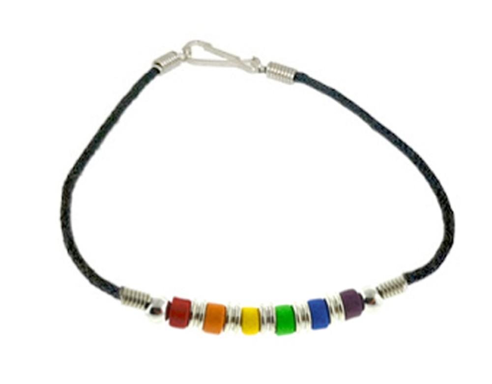 Gay pride Rainbow Plain Bead Wristlet Bracelet - G...