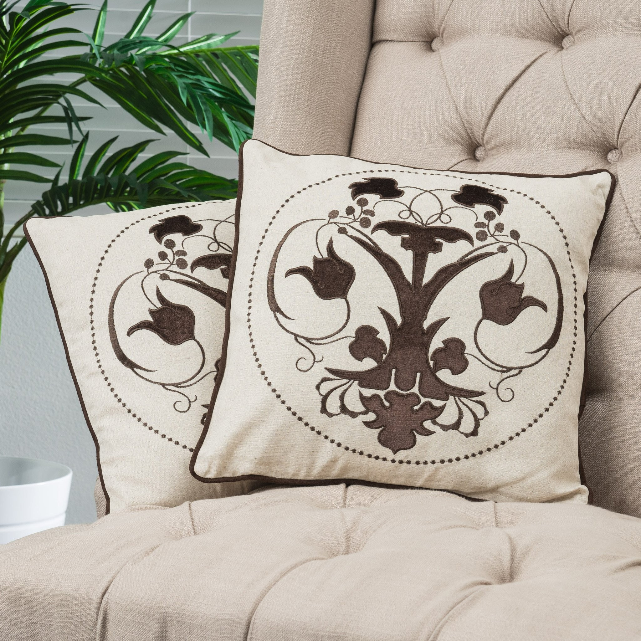 """18"""" Black Embroidered Whimsical Tulip Pillows (Set..."""