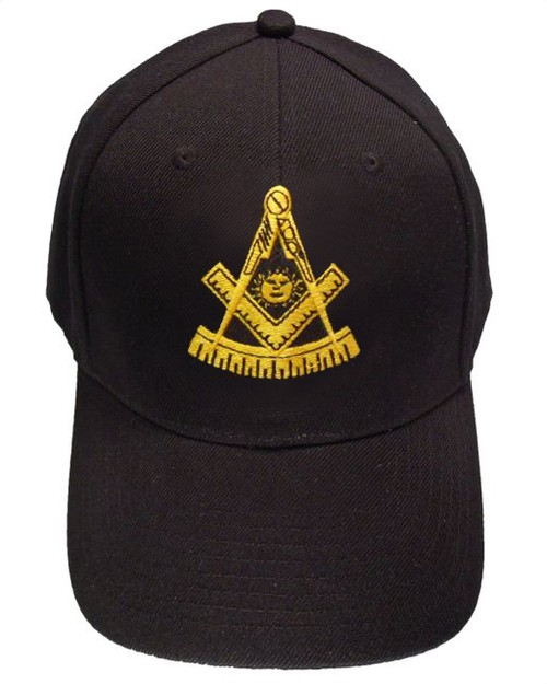 Freemason's Baseball Cap - Black Hat with Gold...