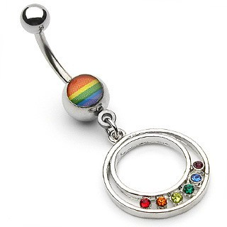 Rainbow Pride Round Epoxy Belly Ring - Gay and Les...