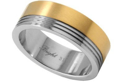 Stainless Steel Ring w/ 14K Gold IP Top Section -...