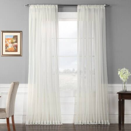 Solid Off White Extra Wide Voile Poly Sheer Curtai...