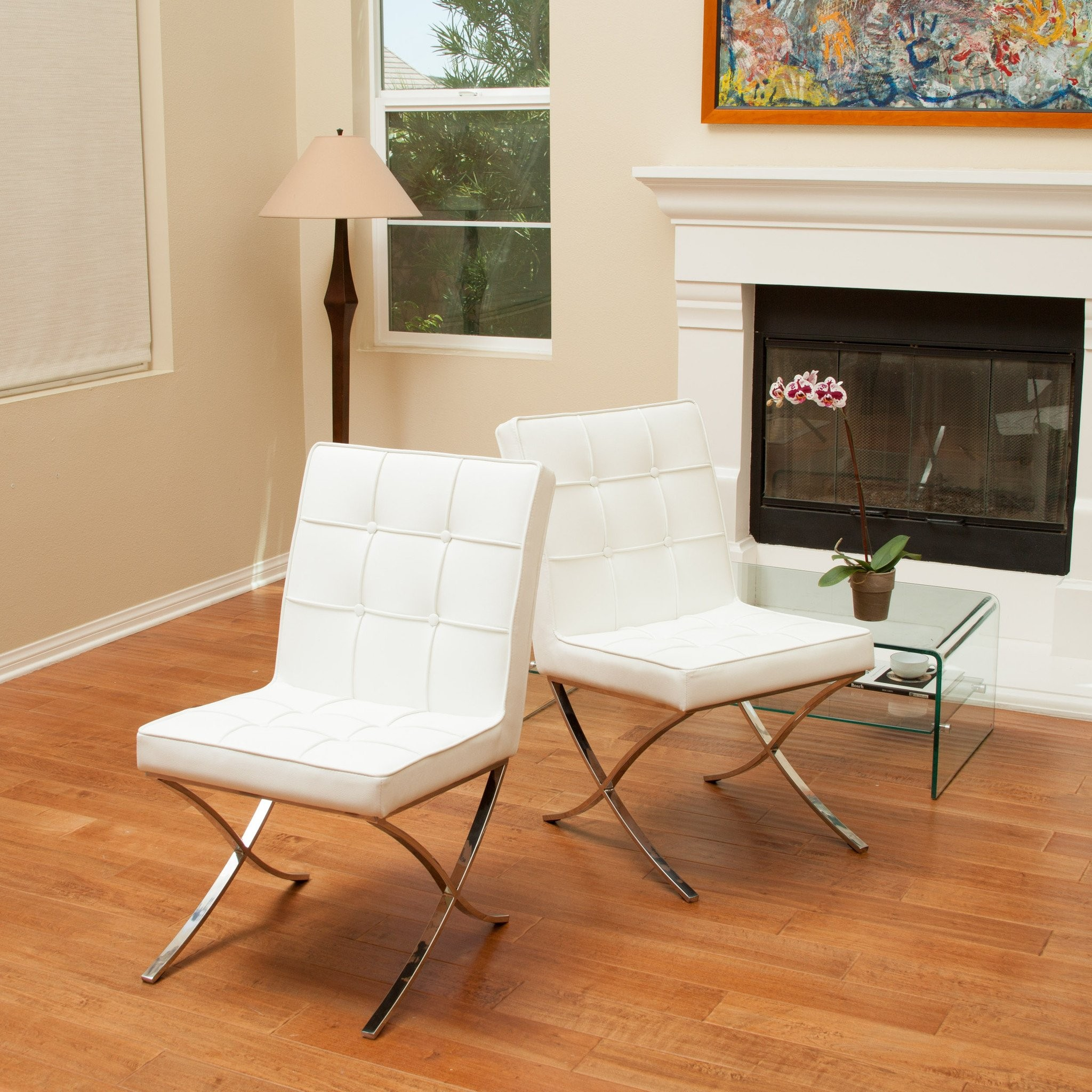 Pandora Modern Design White Leather Dining Chairs...