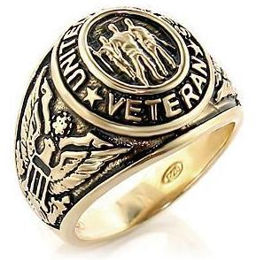 Veteran - Military Ring (Gold Color) USA War Vet.