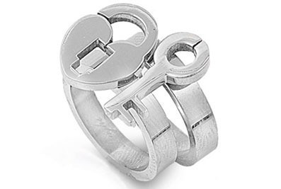 Womens - Key to My Heart - Lock and Key Ring - Lov...