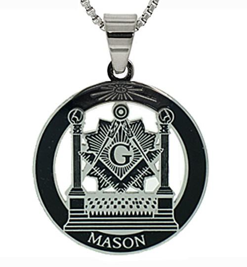Masonic Pillars Pendant - Silver Color Stainless S...