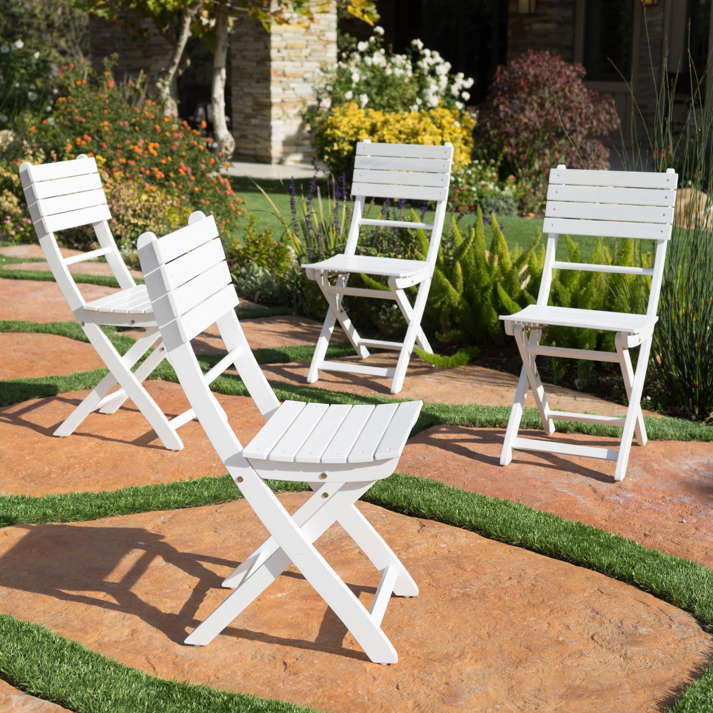 Vicaro Outdoor White Finish Acacia Wood Foldable D...