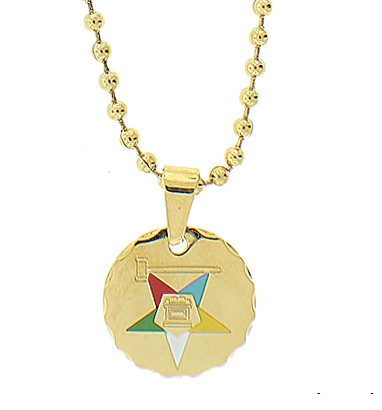 Order of the Eastern Star Round Pendant - Gold Col...