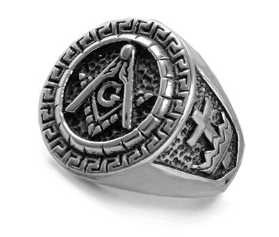 Stainless steel Masonic Ring with Knights of Templ...