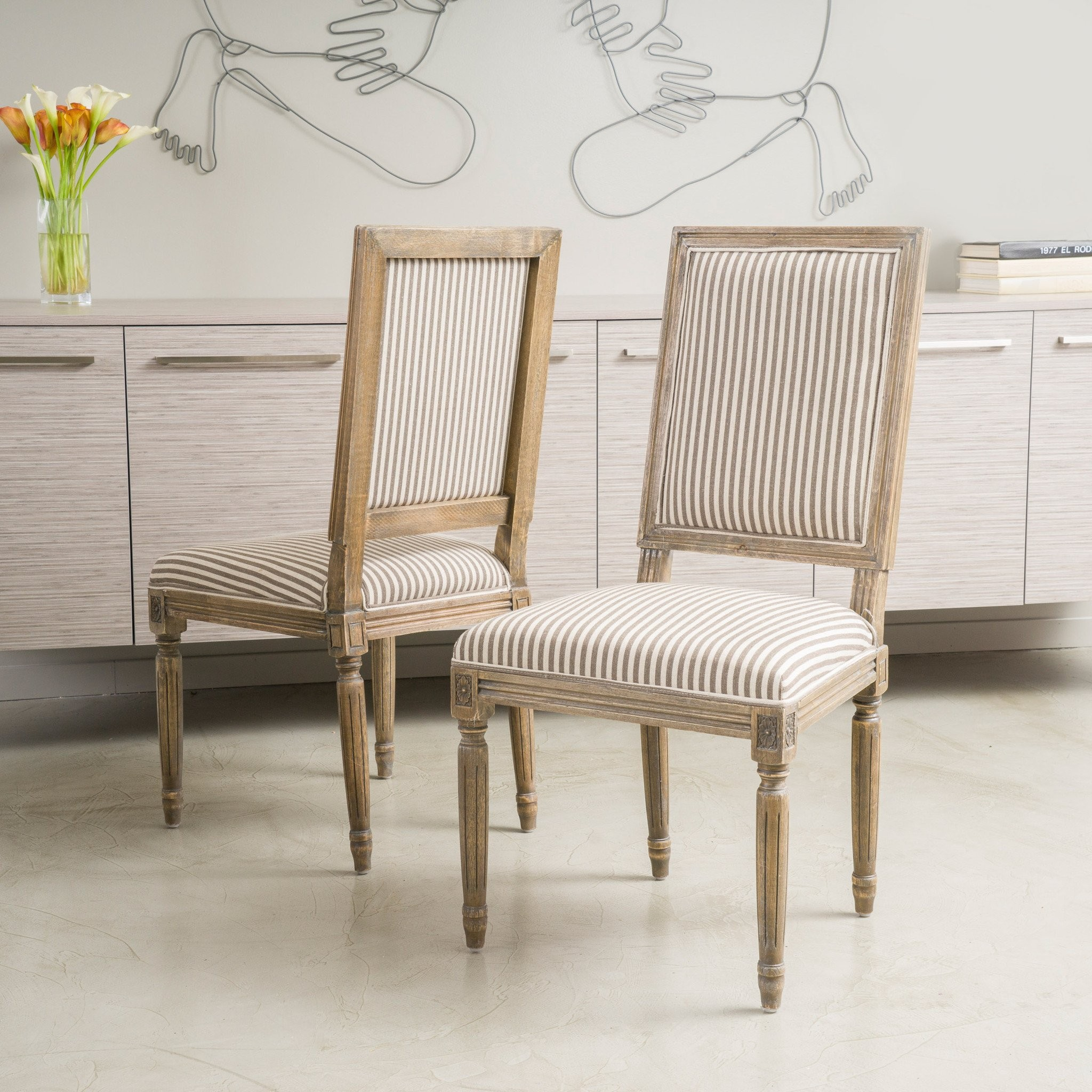 Martin Weathered Dark Coffee Stripe Dining Chairs...
