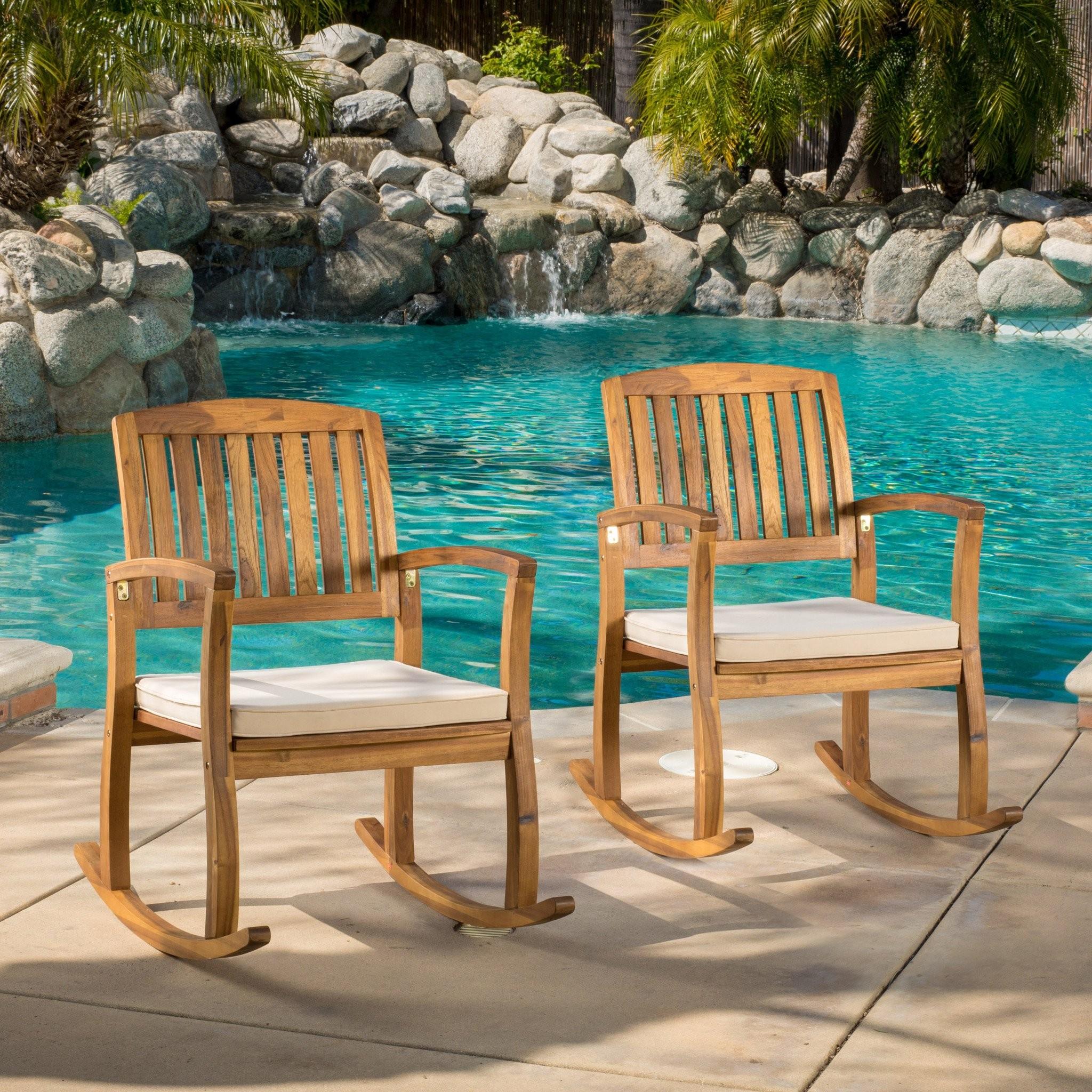 Sadie Outdoor Acacia Wood Rocking Chairs with Cush...