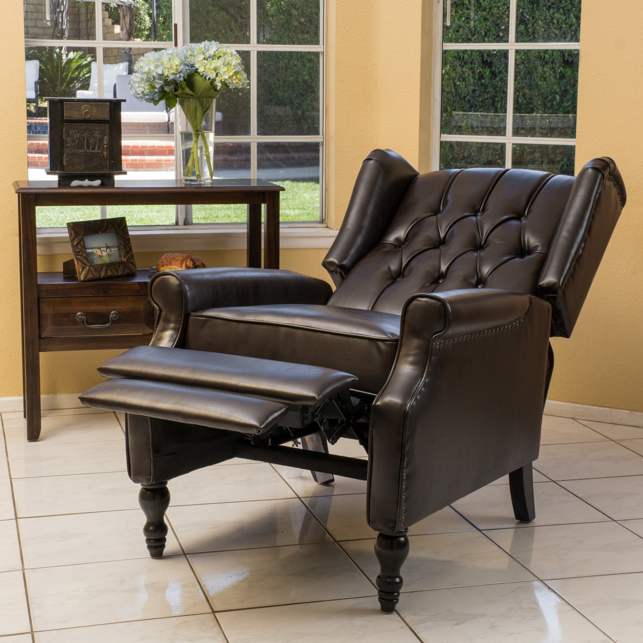 Temzyl Contemporary Brown Leather Recliner Chair