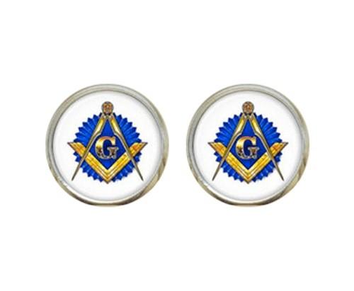 Masonic Glass Earrings with Masonic Symbol on Blue...