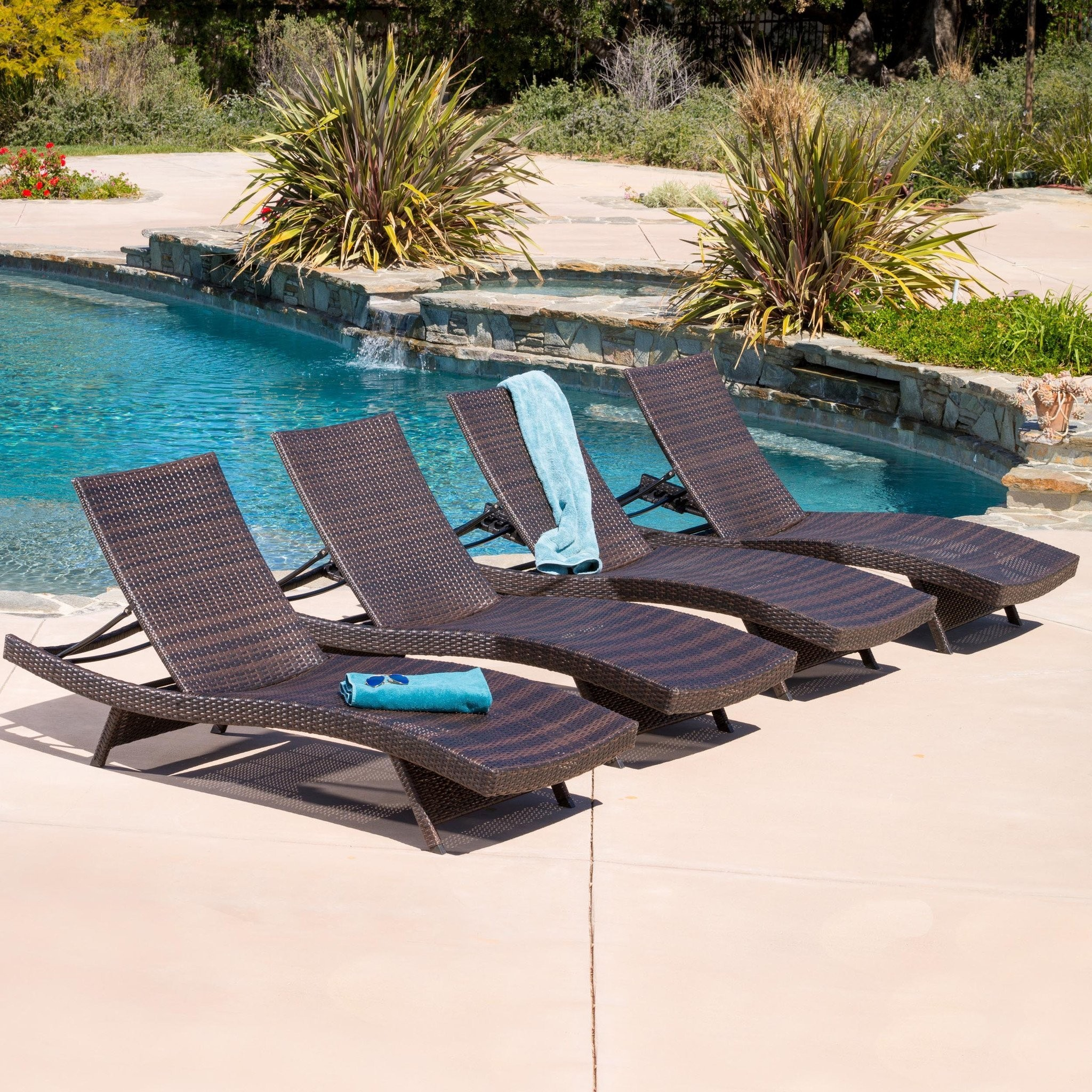 Lakeport Outdoor Adjustable Chaise Lounge Chairs (...