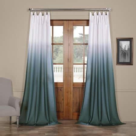 Ombre Aqua Faux Linen Sheer Curtain