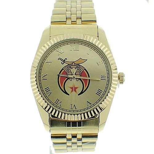 Shriner Watch - Freemason's Symbol on Gold Col...