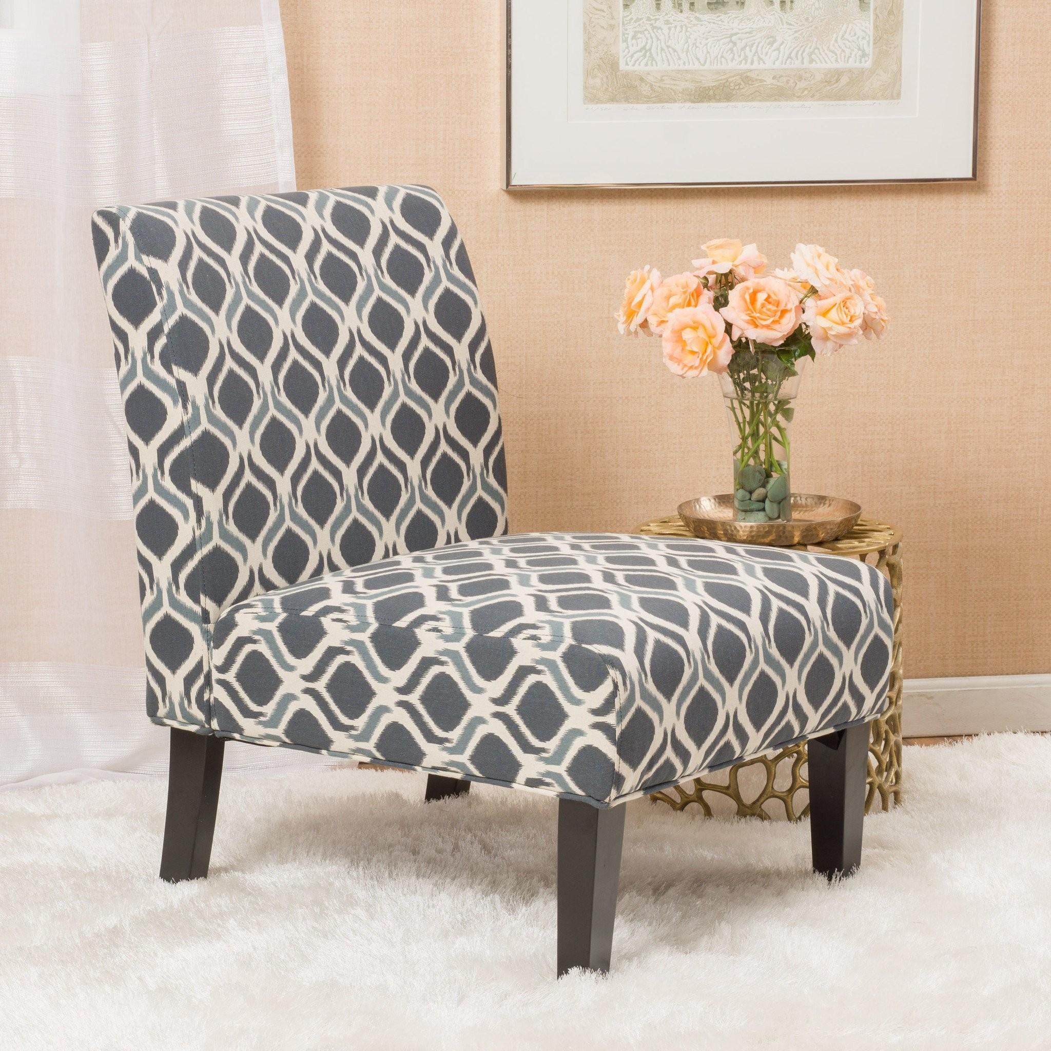 Kalee Navy Blue Print Fabric Dining Chair