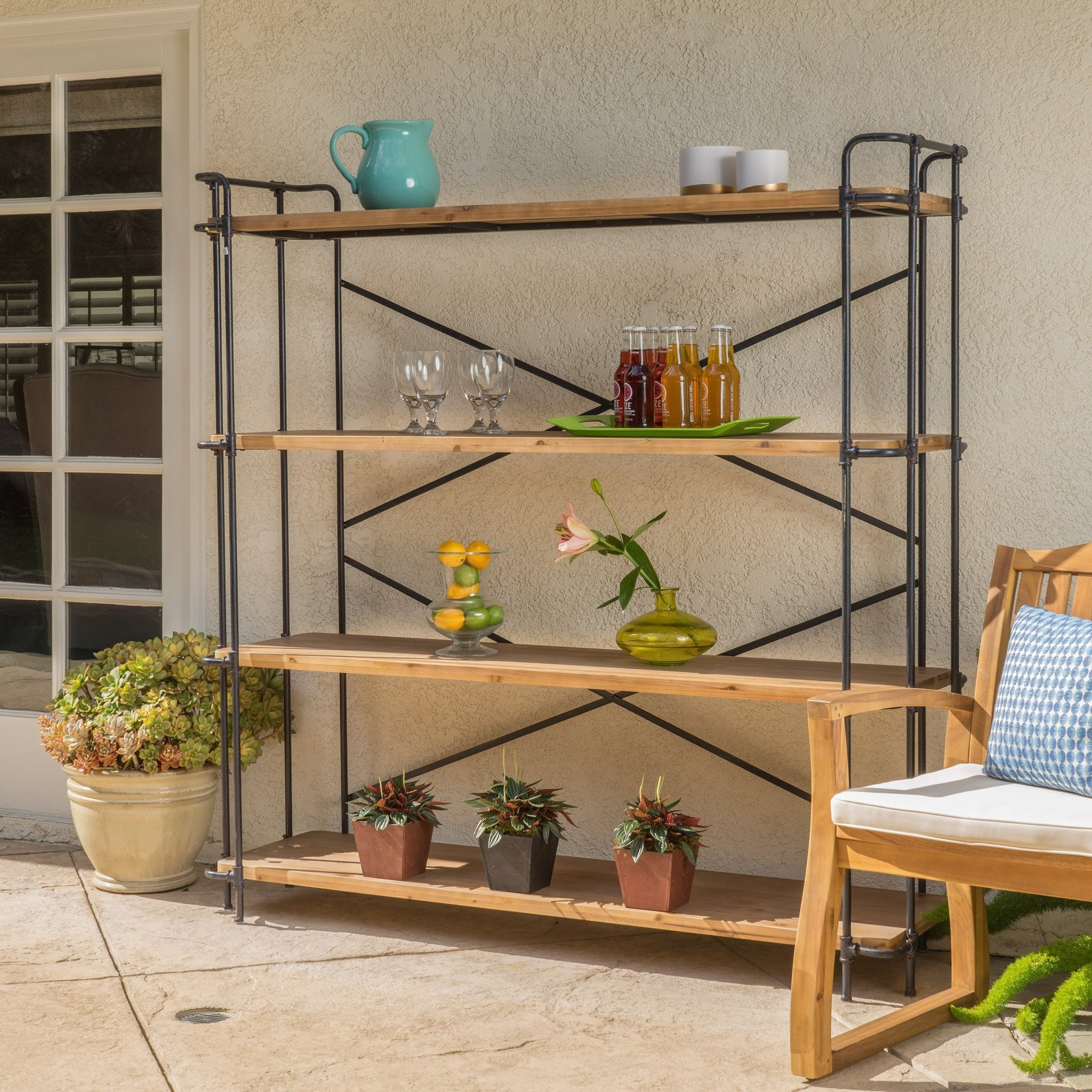 Danielle Natural Wood Finish Outdoor Iron 4-Shelf...