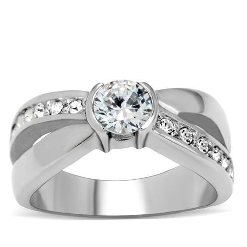 Side Line and Middle Stone CZ Ring - Stainless Ste...