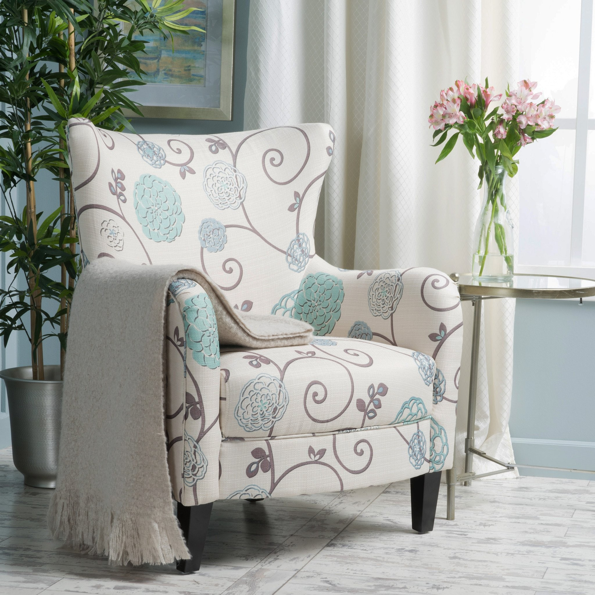 Venette Ivory And Blue Floral Fabric Club Chair