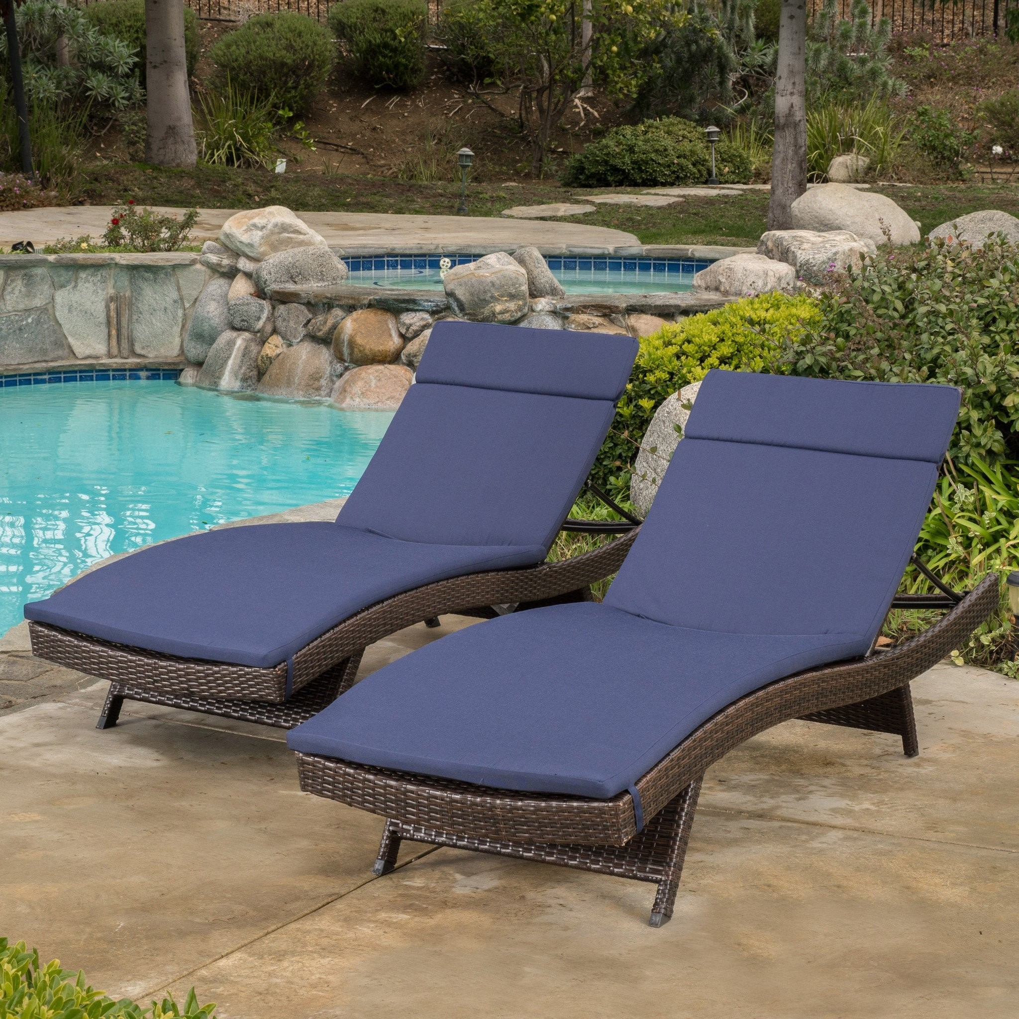 Lakeport Outdoor Adjustable Chaise Lounge Chairs w...