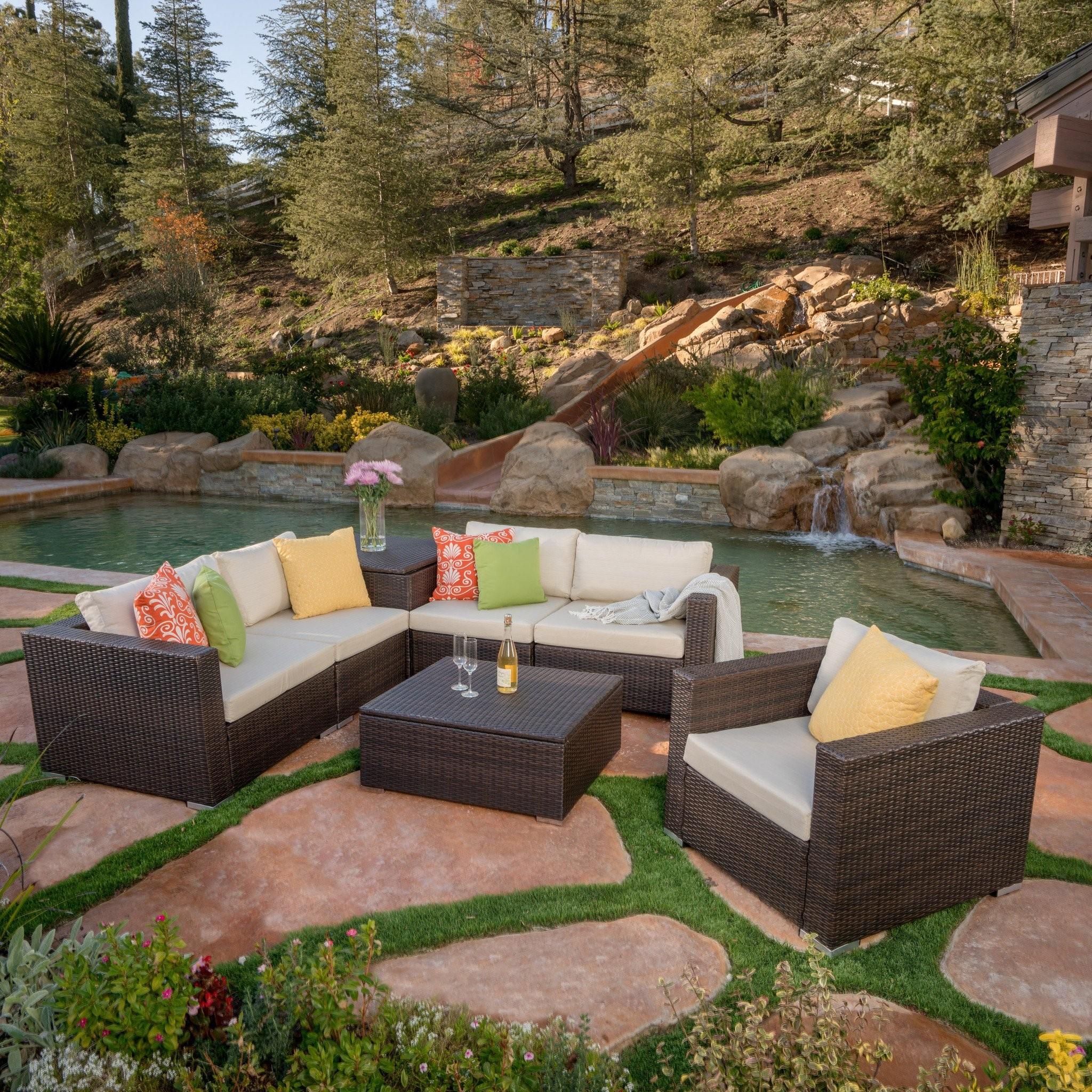 San-Louis-Obispo 7pc Outdoor Sectional Sofa Set w/...