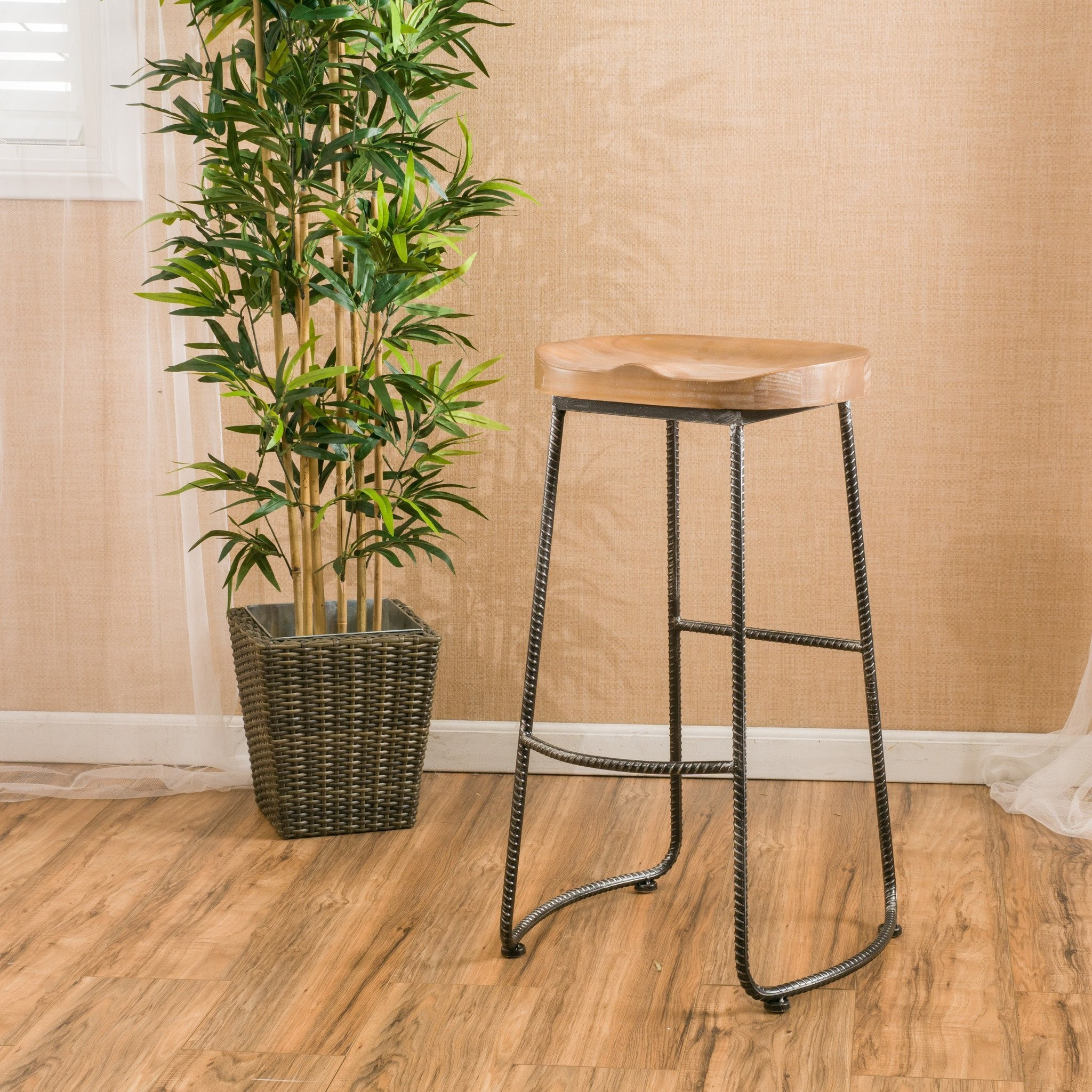 Dilley Contemporary Brown Pine Wood Barstool