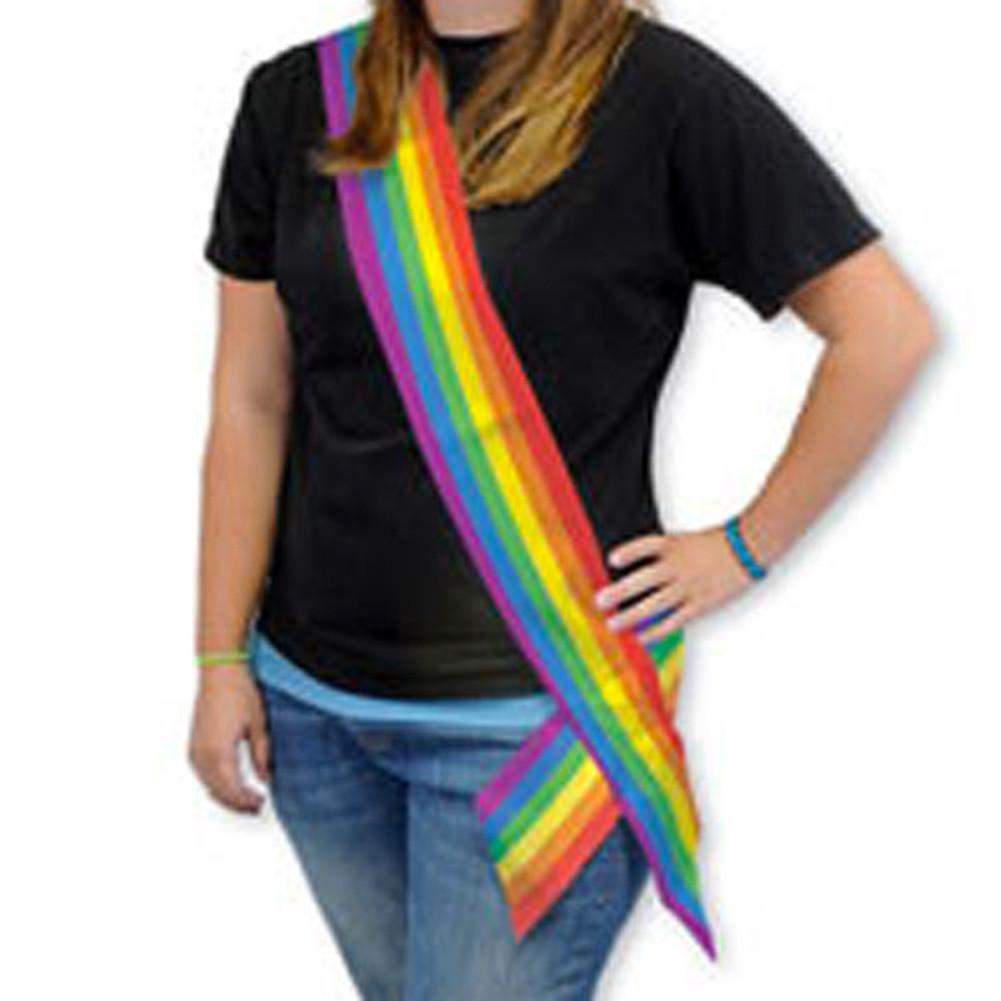 6' Foot Satin LGBT Rainbow Sash - Gay Pride Pa...