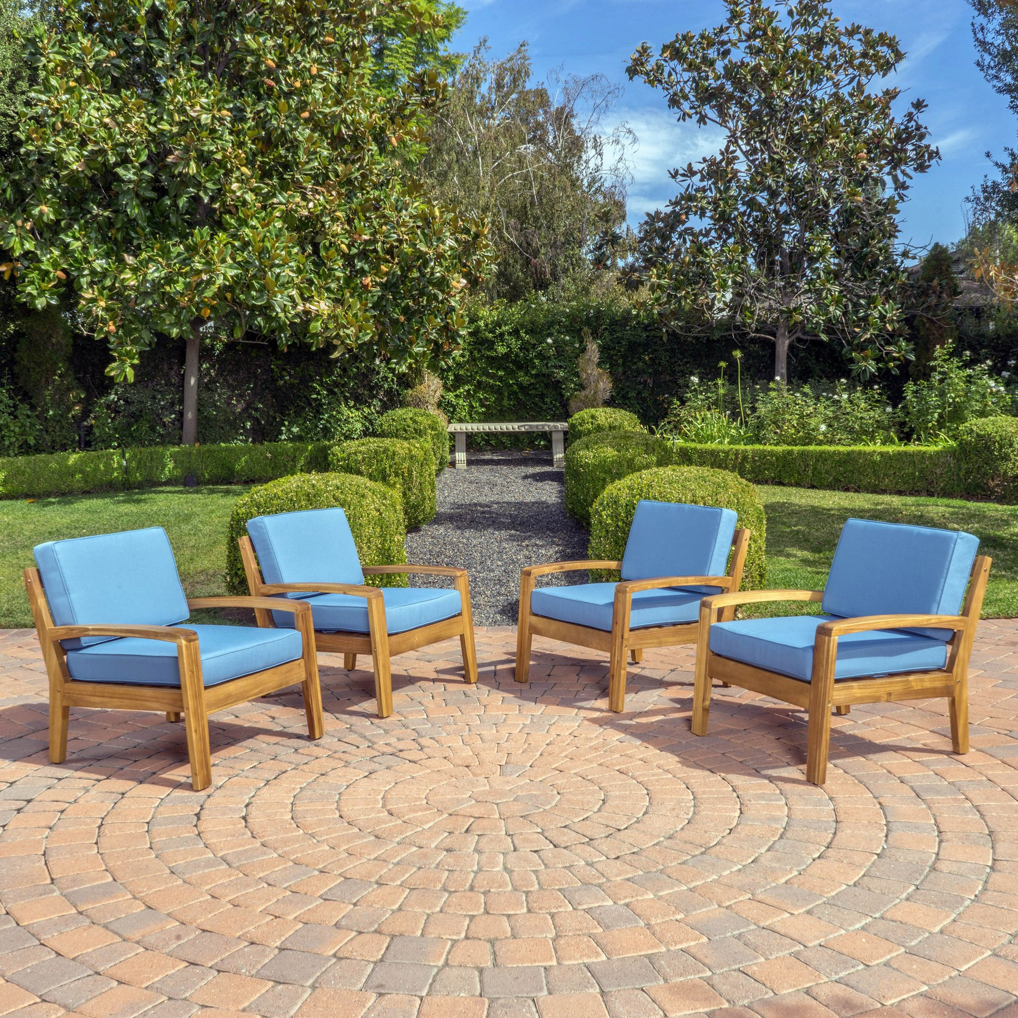 Parma Outdoor Wood Patio Furniture Club Chairs w/...