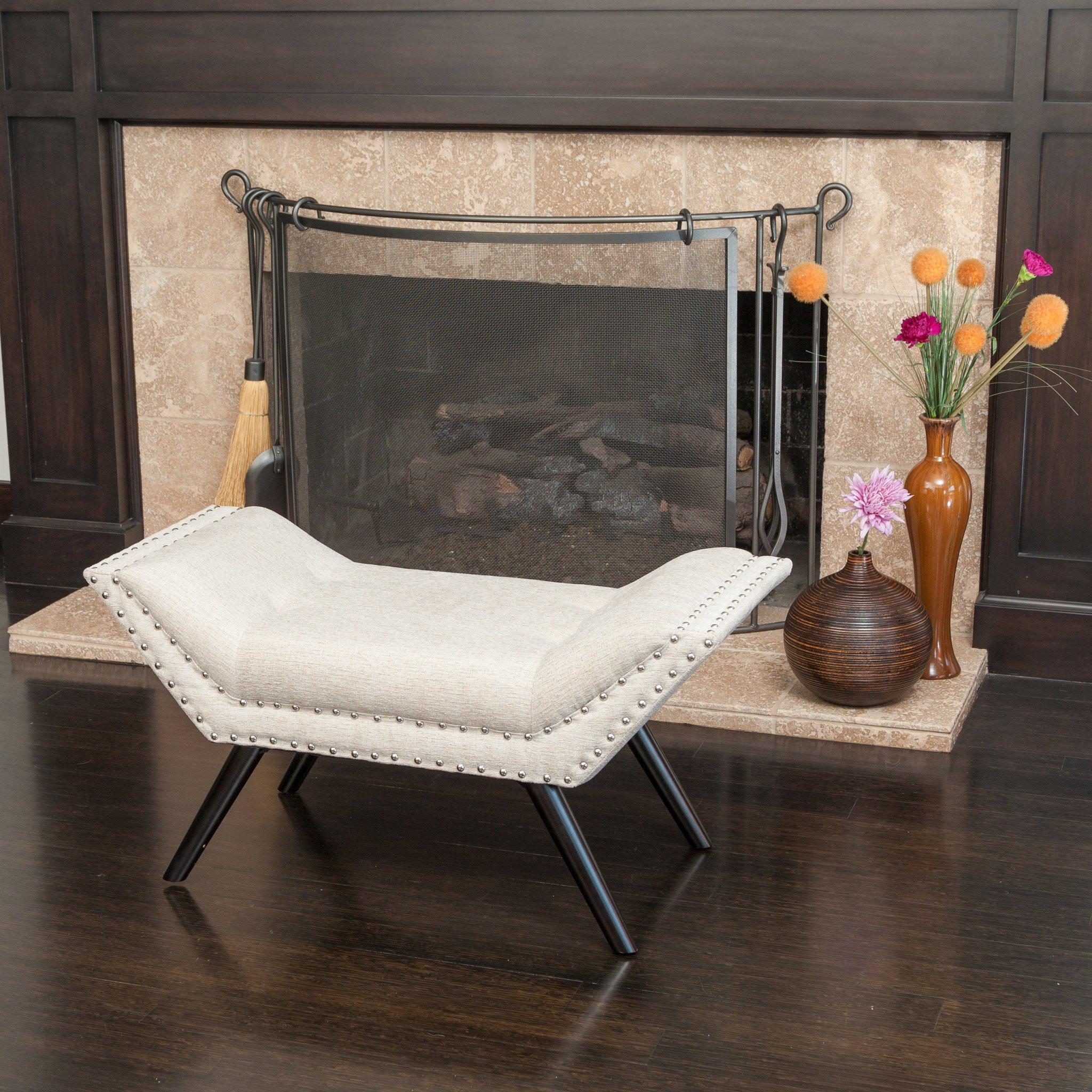 Beverly Beige Fabric Ottoman Bench