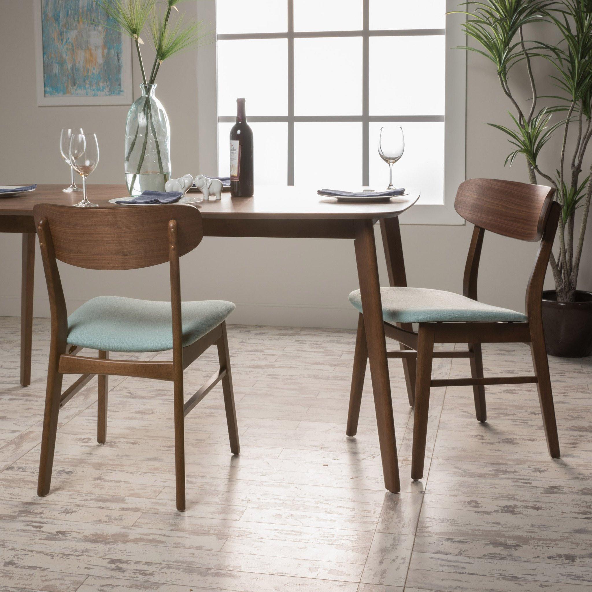 Alexis Mint Fabric/ Walnut Finish Dining Chair (Se...