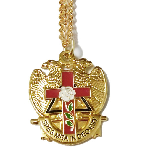 Scottish Rite Pendant with chain. Gold Tone with c...
