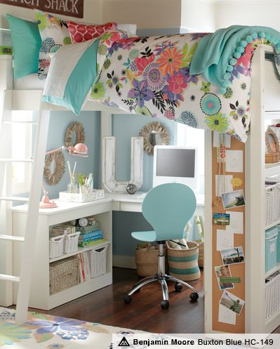 Cute idea for a little girl's room - loft bed with...