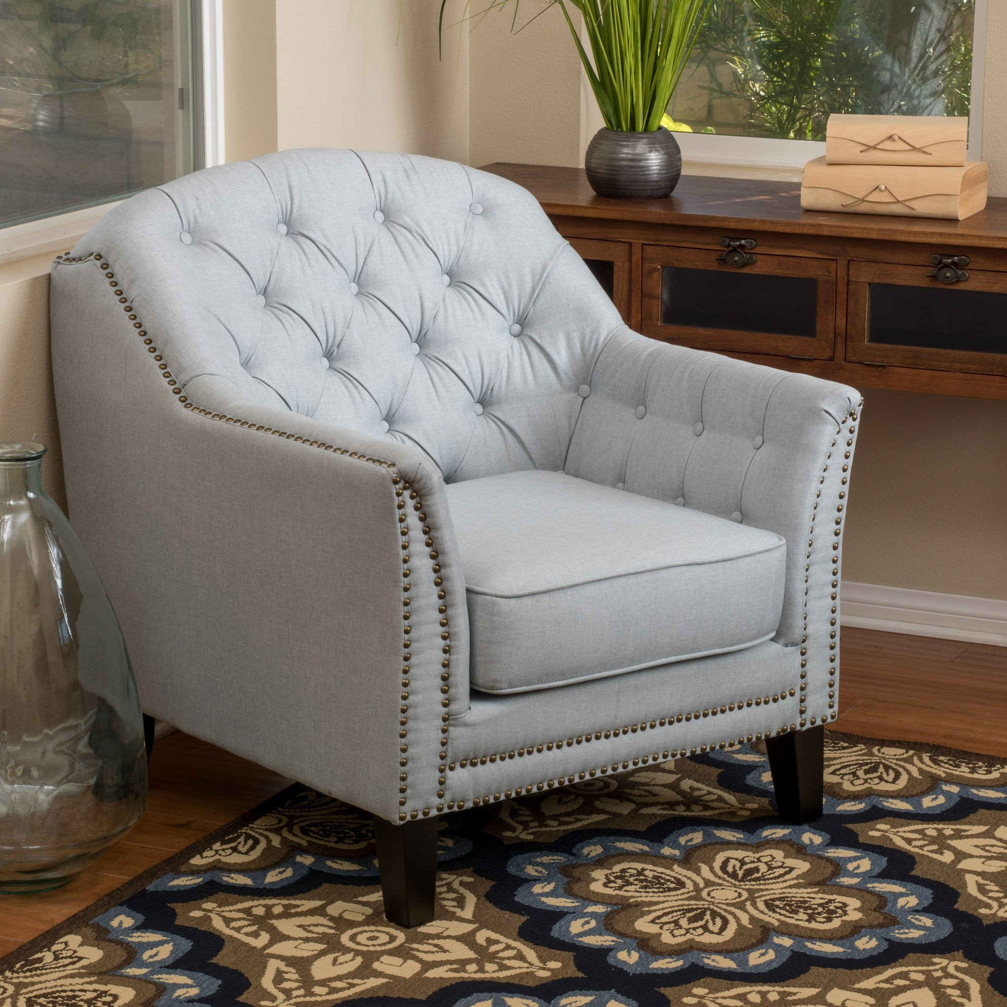 Ladera Light Grey Fabric Club Chair