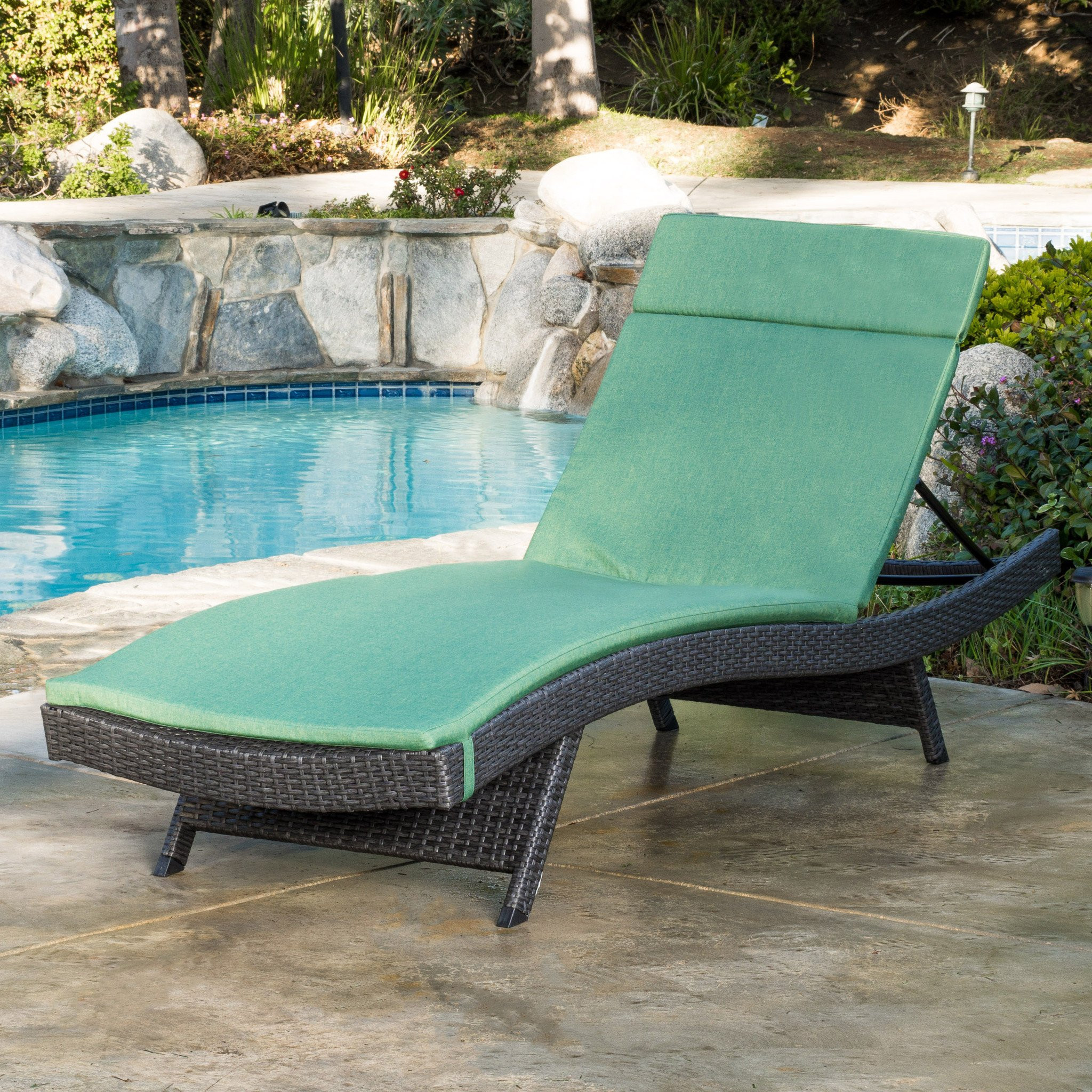 Nassau Outdoor Grey Wicker Adjustable Chaise Loung...