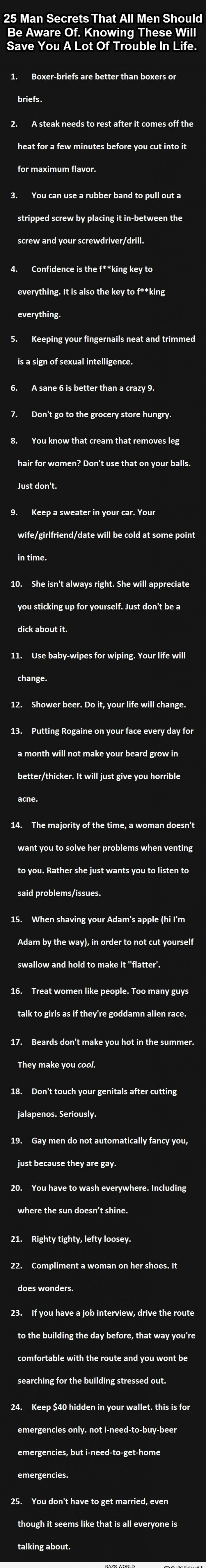 25 Man Secrets That All Men Should Be Aware Of - M...