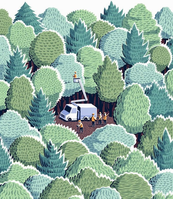 Jon McNaught illustration tree cutters in a forest...