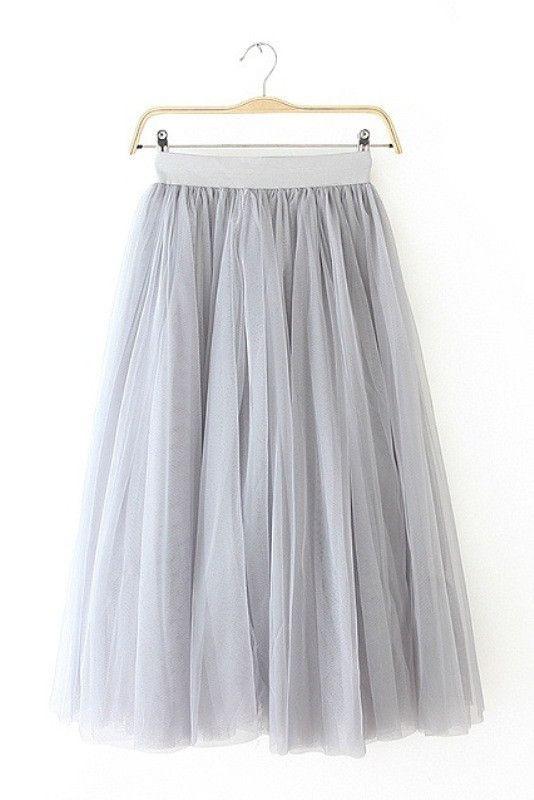 Gray Tulle Midi Skirt