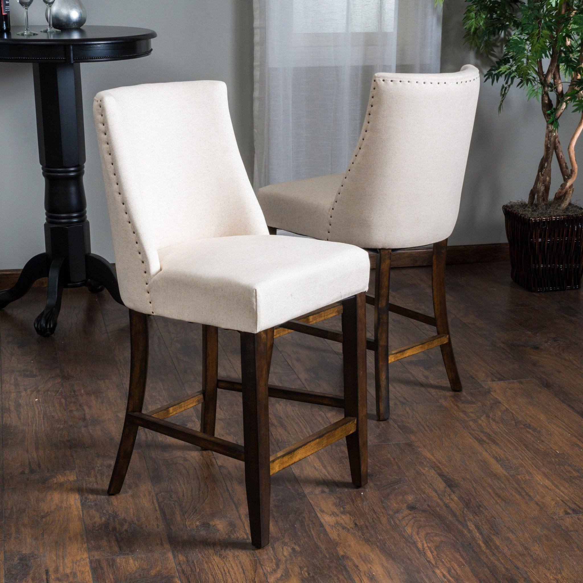 Rydel Beige Linen Fabric Counter Stools (Set of 2)