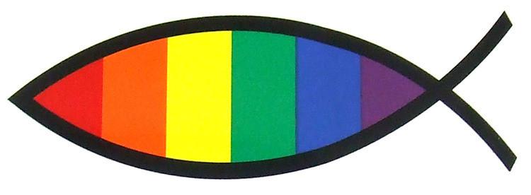 Christian Fish / Jesus Rainbow Pride Sticker 3x6 i...