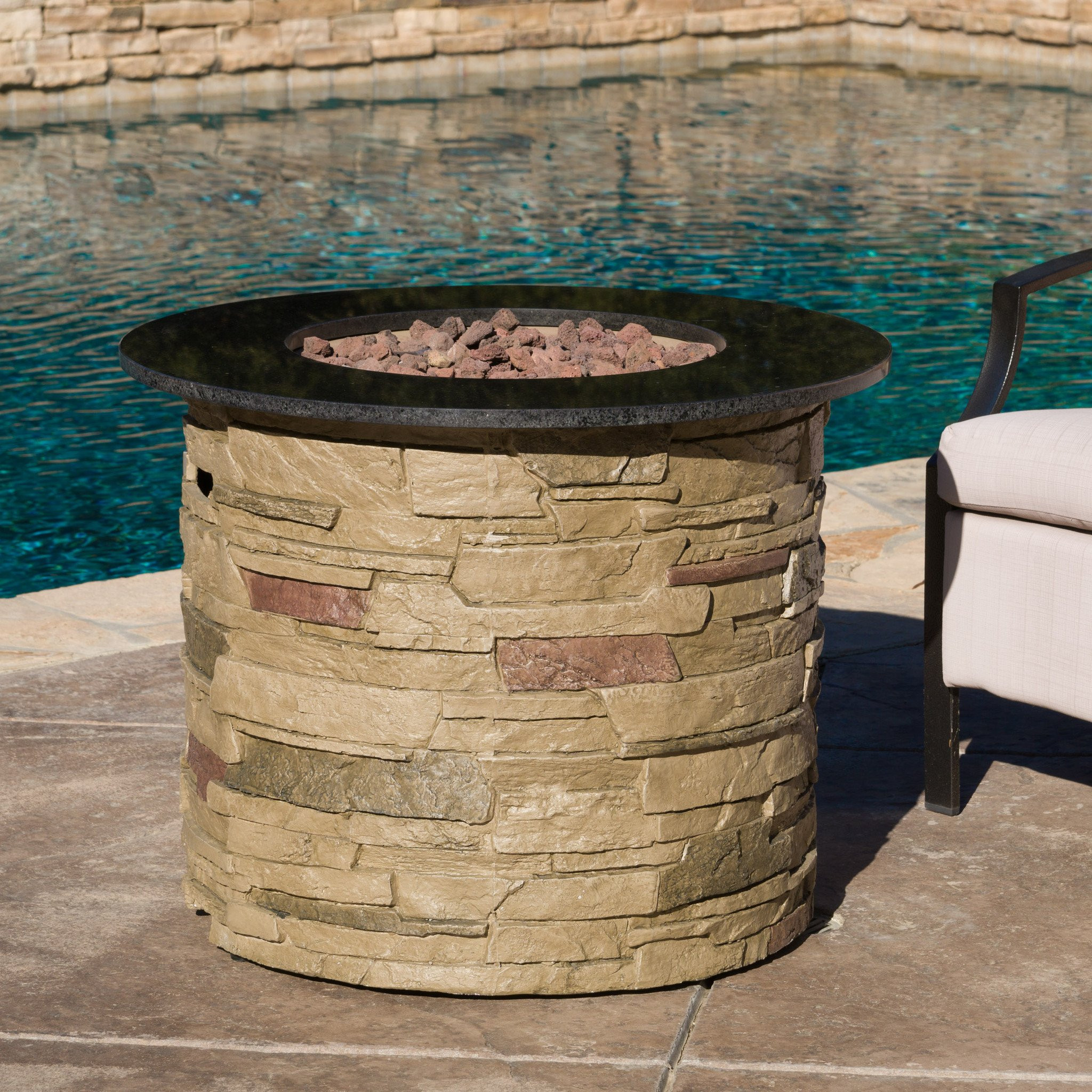Rogers Outdoor Round Liquid Propane Fire Pit with...