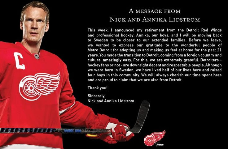 Nick Lidstrom. Class, personified.