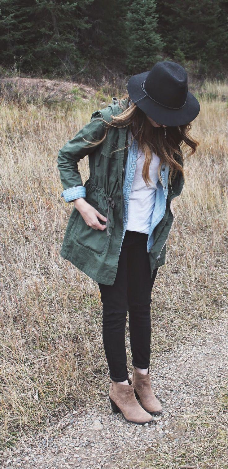 olive cargo jacket, long sleeve light denim shirt,...