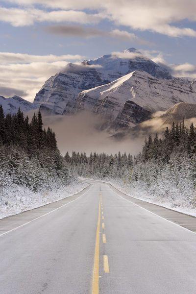 The Icefields Parkway between Banff & Jasper in Ba...