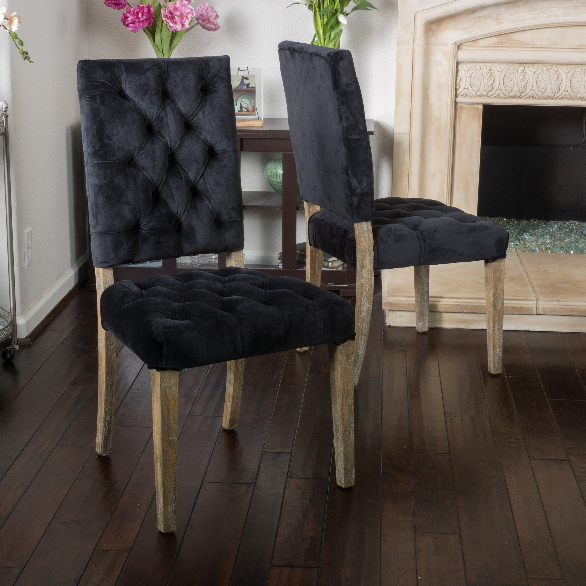 Myrtle Black Velvet Dining Chair (Set of 2)