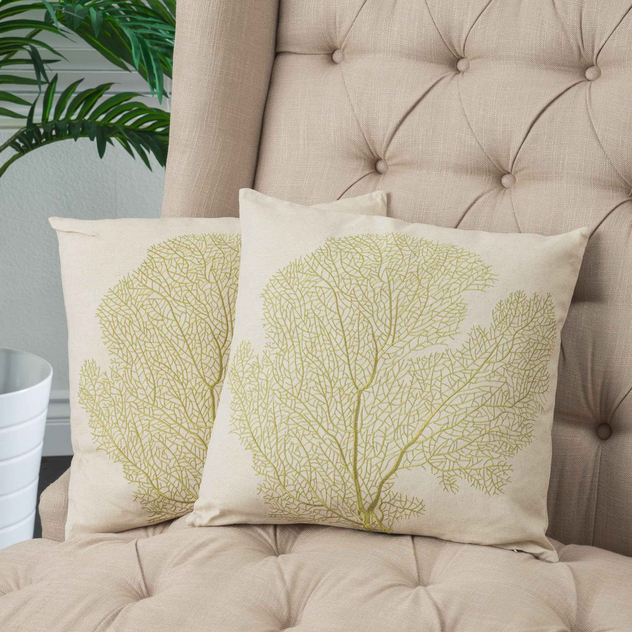 """18"""" Beige Embroidered Tree Linen Throw Pillows (Se..."""