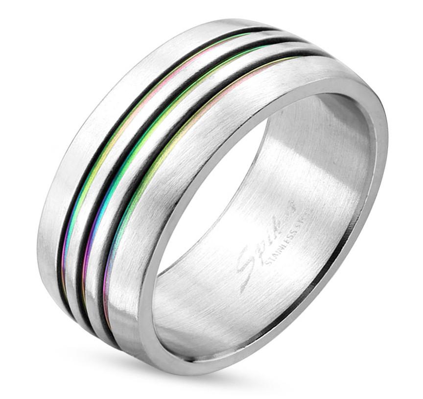 Triple Line Anodized Rainbow Ring - Gay & Lesb...