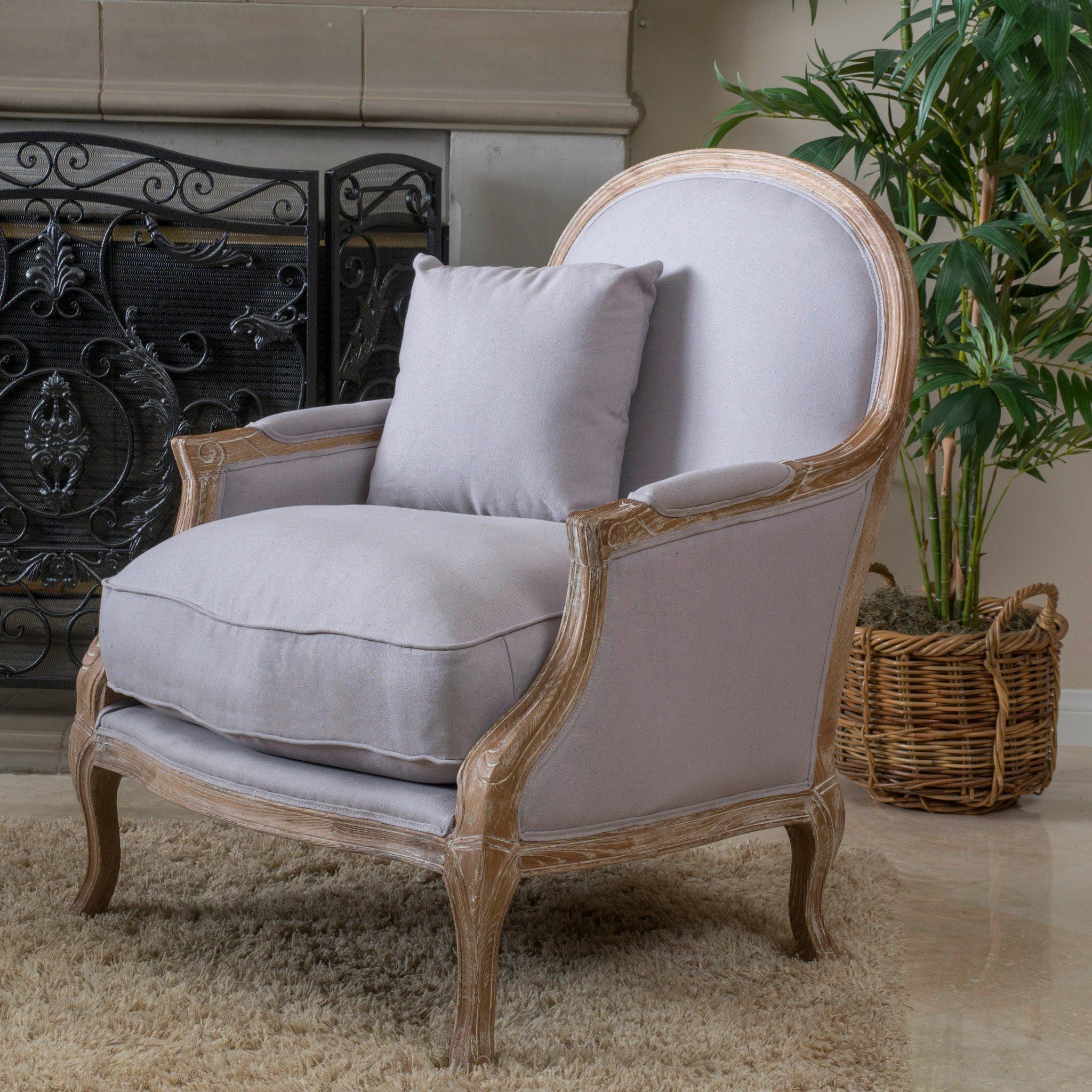 Lennon Weathered Hardwood Fabric Arm Chair