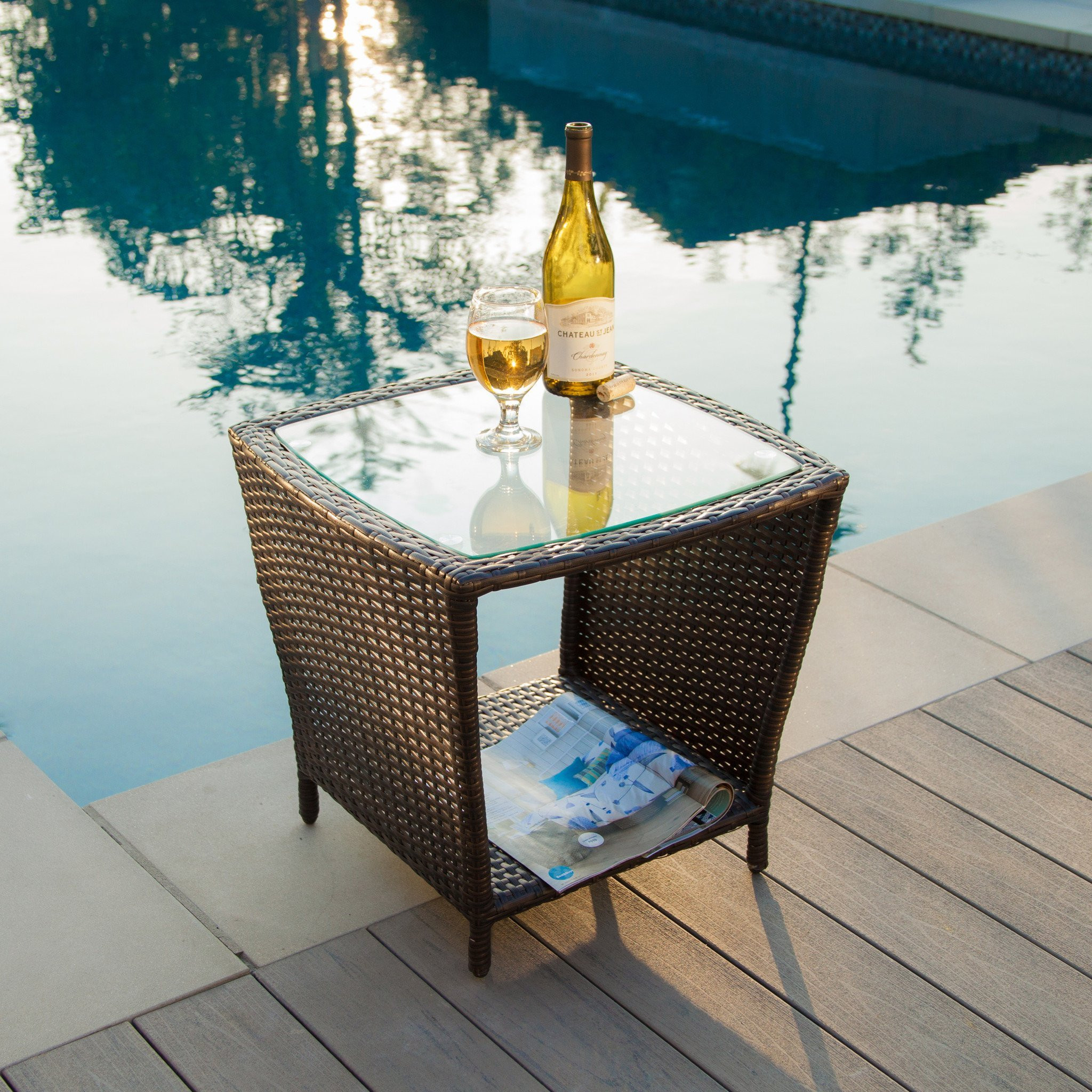 Easton Outdoor Brown Wicker Side Table